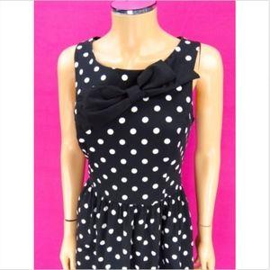 LC LAUREN CONRAD Bow Dress Polkadot Black White 10
